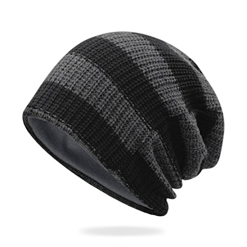 Unisex Stripe Winter Beanie Slouchy Men Women Stretch Headwear Ski Skull Ruffle Hat Beanies Baggy Cap Black Dark Grey by American Trends
