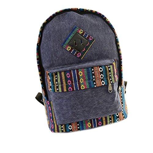 Malloom® mochila de lona floral retro étnico raya hombro escuela bolsa de viaje (negro) negro