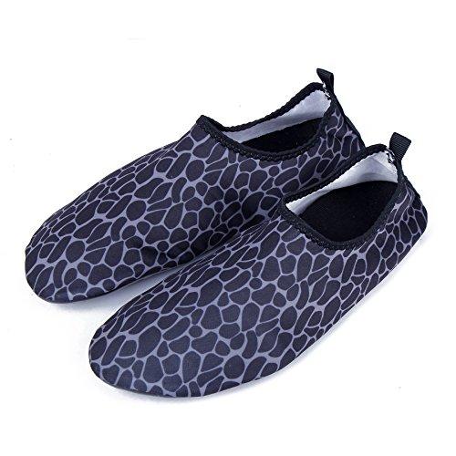 WONZOM FASHION Männer Frauen Paar Multifunktionale Haut Schuhe Leichte Barfuß Sneaker Quick-Dry Wasser Sportschuhe für Beach Pool Schwarz