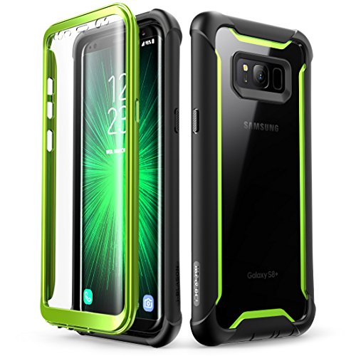 Samsung Galaxy S8 case, i-Blason [Ares] Full-body Rugged Clear Bumper Case With Built-in Screen Protector for Samsung Galaxy S8 2017 Release (Black/Green) (Case Green Screen)