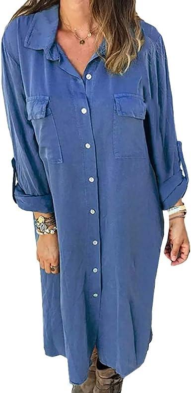 Mujer Vestidos Largos Casual Camisa Manga Larga Botón Color Sólido Vestido Camisero con Bolsillo: Amazon.es: Ropa y accesorios