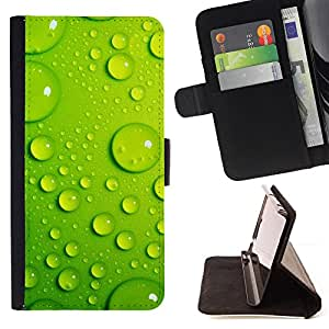 BullDog Case - FOR/Samsung Galaxy Note 3 III / - / Green Water Drop Leaf 3 /- Monedero de cuero de la PU Llevar cubierta de la caja con el ID Credit Card Slots Flip funda de cuer