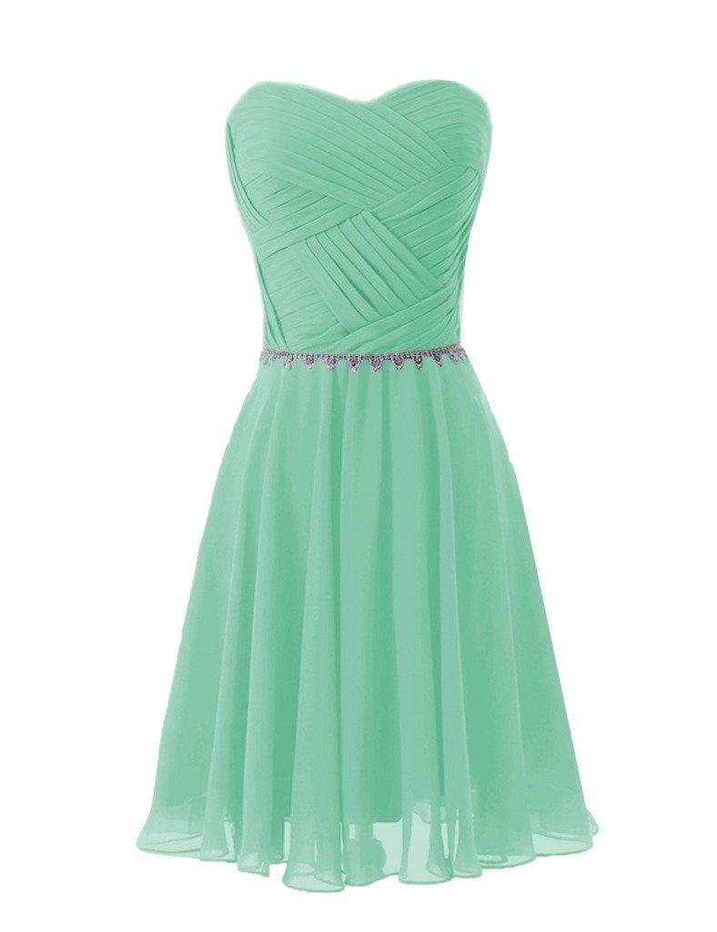Aurora Bridal Bridesmaid Chiffon Prom Dresses Short Evening Gowns Aquamarine, 4
