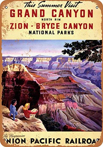(1932 Union Pacific Railroad to The Grand Canyon Zion Bryce Vintage Look Metal Tin Sign - 10x14 inch)