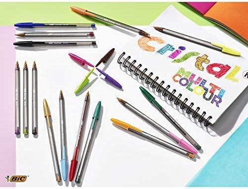 BIC Cristal Multicolour bolígrafos Punta Ancha (1,6 mm) – colores Surtidos, Blíster de 10 unidades: Amazon.es: Oficina y papelería