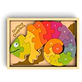 BeginAgain Counting Chameleon Wooden Number Puzzle - Perfect Preschool Puzzle Game for Toddlers - Eco-Friendly and Award Winning Educational Toy - Numerals AND Bilingual with English and Spanish!