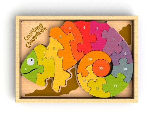 g Chameleon Bilingual Puzzle, Make Learning Fun and Help Spark Your Child's Imagination, Bilingual Wooden Numbers Puzzle (For Kids 3 and Up) ()