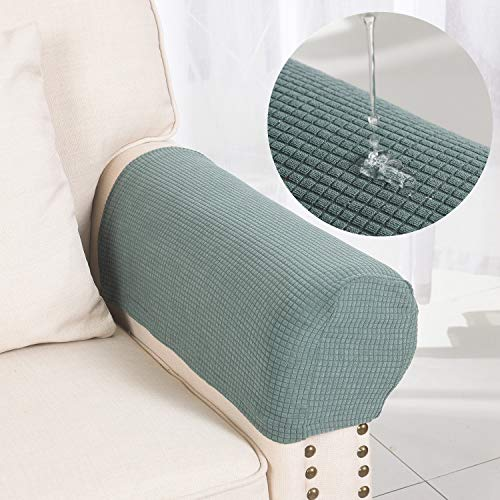 Larvinhom Armrest Covers Anti-Slip Waterproof Furniture Protector Armchair Slipcovers for Recliner Sofa Set of 2(Sage)