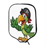 YOLIYANA Pirate Durable Racket Cover,Cartoon Parrot with Pirate Hat Eye Patch Waving Hand Gesture Cute Funny Character Decorative for Sandbeach,One Size