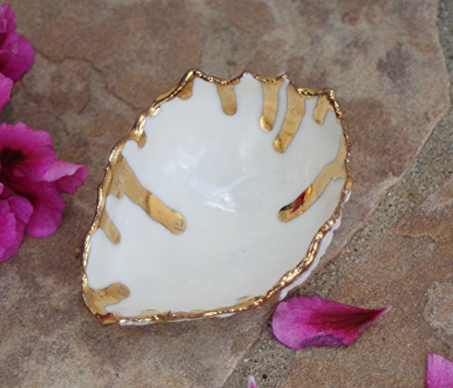 White and Gold Ring Dish, handmade porcelain jewelry storage - stock photo, please read description (Porcelain Gold Band)