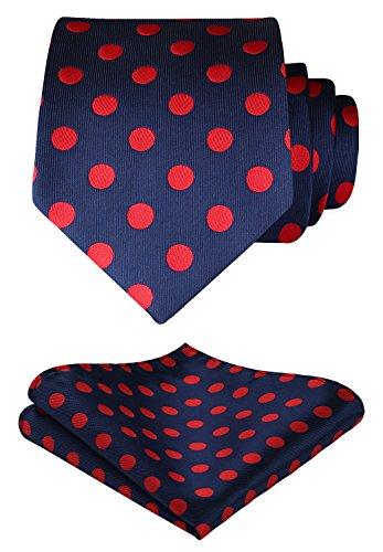 HISDERN Dot Floral Wedding Tie Handkerchief Woven Classic Men's Necktie & Pocket Square Set Red & Navy Blue