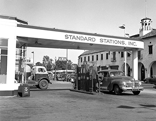 1942 Framed - An 8 x 10 Photo Framed 1942 Gas & Service Station Stand Oil