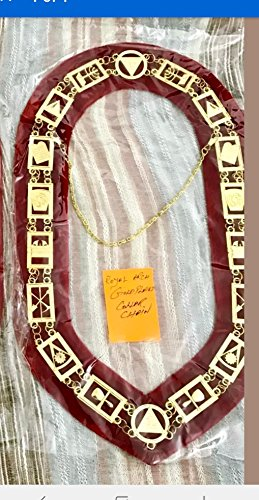 Bricks Masons Royal Arch Masonic Chain Collar - Gold/Silver On Red + Free Case