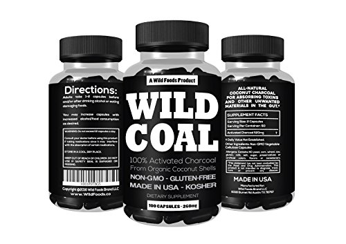 Hangover Food (Activated Charcoal from 100% Organic Coconut Shells by Wild Foods - Digestion, Gas Relief, Ease Hangovers - Kosher, Lab Tested, USA made, Non-GMO, Premium Purity (100 Capsules))
