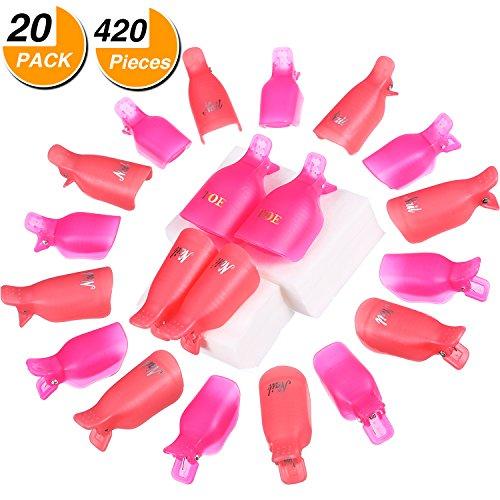 Frienda 20 Pieces Plastic Toe Nail and Finger Nail Soak Off