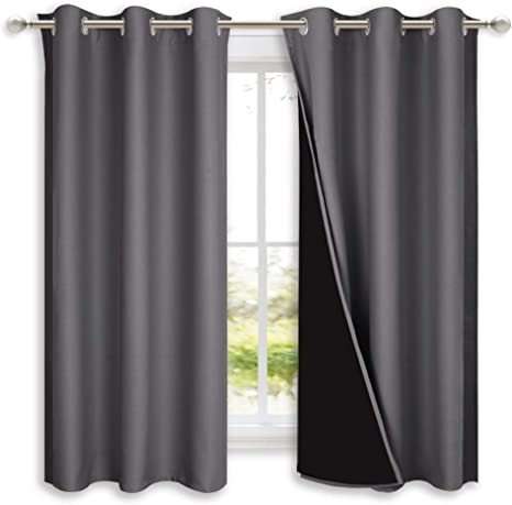 nicetown 100 blackout curtains with black liners thermal insulated full blackout 2 layer lined drapes energy efficiency window draperies for