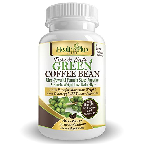 Health Plus Prime Green Coffee Bean Extract 100% Pure & Natural 800mg Serving @ 50% Chlorogenic Acid For Maximum And...