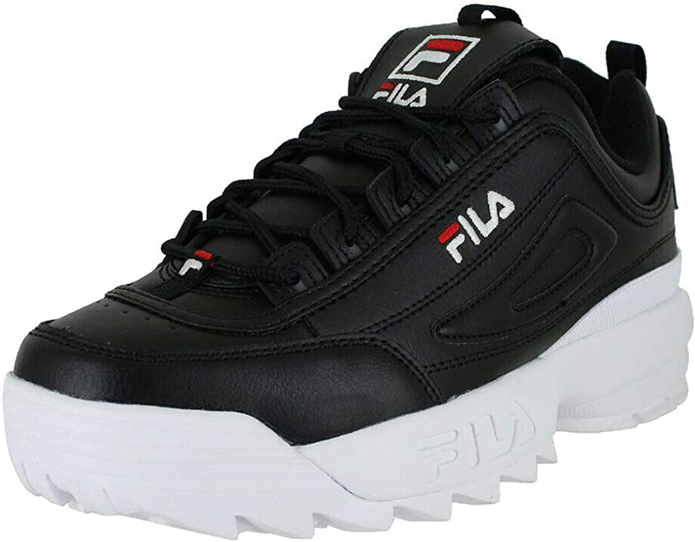 New Girls Fila Black Disruptor II Premium Leather Trainers Retro Lace Up