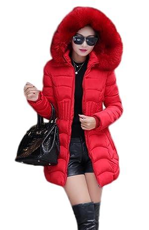 Bigood Women's Thicken Warm Down Coat Fur Hooded Puffer Jacket Red XL