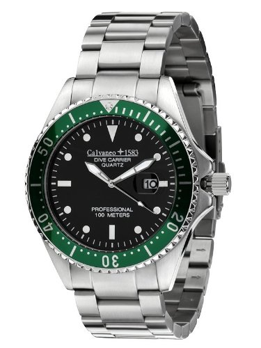 Calvaneo 1583 Dive Carrier Cliff Green 46mm Diver Uhr - 10 ATM
