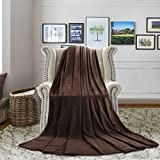 H.VERSAILTEX Blanket Throw Twin Travel Blanket Flannel Fleece Luxury Blanket Brown Lightweight Cozy Plush Microfiber Solid Ultra Soft Blanket for Kids/Adults, Features Cozy and Efficient