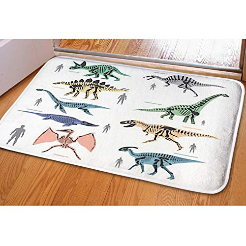 iBathRugs Door Mat Indoor Area Rugs Living Room Carpets Home Decor Rug Bedroom Floor Mats,Dinosaurs Skeletons Silhouettes Bone Animal
