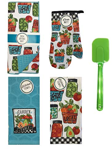 (Mainstream Spring/Summer Collection Garden Table Themed 5-Piece Kitchen Linen Bundle Set,Dish Dry Mat, Dish Towel,Oven mitt,Pot Holder and Silicone Spatula(Colors May Vary))