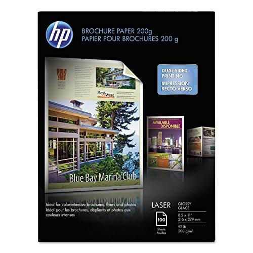HP Q6608A Glossy Laser Brochure Paper, White, 100SH/PK