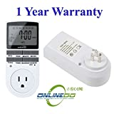 2.3'' LCD 24-Hour/7-Day Progranmmable Plug-in Wall Energy Saving Outlet Timer Switch Smart Control Socket with 3-prong Outlet for Lights and Appliances - 1800W/15A , UL Listed