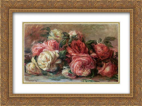 Discarded Roses 40x26 Gold Ornate Frame and Double Matted Art Print by Renoir, Pierre-Auguste