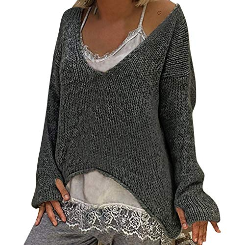BETTERUU UFACE Women Warm V-Neck Sweater Solid Color Long Sleeve Sweater Casual Knitted Sweater ()
