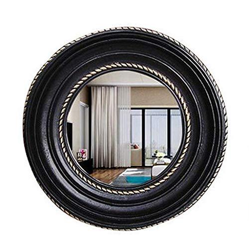 Bathroom Vanity Mirror Wall-mounted,American Country Resin Round Makeup Mirror (color : BLACK) ()