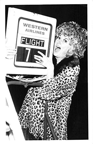 Phyllis Diller holding Western Airlines sign advertising real photo pc Z50953
