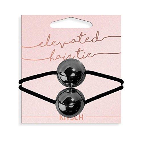Kitsch Large Metal Double Bead Hair Tie, 1 Count (Hematite)