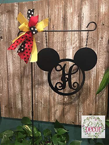 Mickey Mouse Initial Garden Flag Sign 12 or 14 inch Disney Yard Decor Disney Flag Minnie Mouse Yard Art Mickey Monogram Disney Decoration Gift -