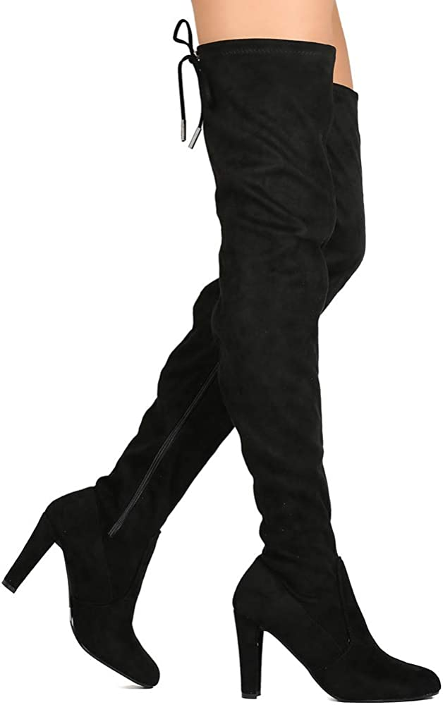 WOMEN* LADIE THIGH HIGH BOOTS OVER THE KNEE PARTY STRETCH BLOCK MID HEEL NEW
