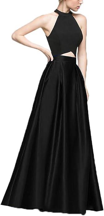 83ecad279165 Zhongde Women Two Pieces Halter Long Prom Dress Satin Vintage 80s 50s  Elegant Evening Gown Black