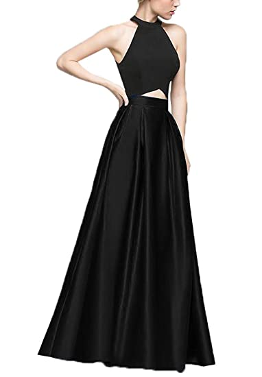Women Two Pieces Halter Long Prom Dress Satin Vintage 80s 50s