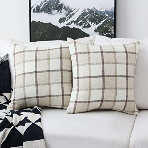 HOME BRILLIANT Classic Retro Throw Pillow Covers Country Rustic Checkered Plaid Cotton Linen Cushion Covers, Set of 2, 18 x 18 Inches, Beige ()