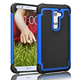 LG G2 Case ,[Corner Protection] Protective Case Detachable Defender Thin Protective Anti-dirt Scratch Resistant Hard Soft Heavy Duty Rubber Bumper Case Cover for LG G2(Black/Blue)