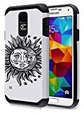 SAMSUNG GALAXY S5 SM-G900 Cresent Sun and Moon Face Case OxyCase Tufproof Anti-scratch Drop Protection Ultra Thin Tough Armor Slim Fit Dual Layered Heavy Duty Hybrid Hard PC TPU Shell for GALAXY S5