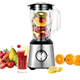 Countertop Blender 800W 60.8oz Personal Blender for Shakes with BPA Free Blender Jar 2-Speed Control Stainless Steel Single Serve Blender Silver