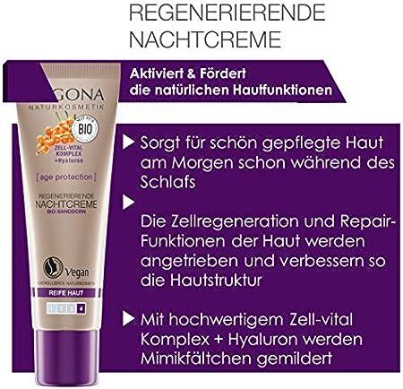 logona Natural cosmético Age Protection 8778556Crema Noche, la activación Zell renovación, Promueve la regeneración de la piel, ácido hialurónico Crema facial, anti-edad Vegano, 1er Pack (1x 30ml)
