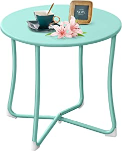 "Amagabeli Metal Patio Side Table 18"" x 18"" Heavy Duty Weather Resistant Anti-Rust Outdoor End Table Small Steel Round Coffee Table Porch Table Snack Table for Balcony Garden Yard Lawn, Mint Green"