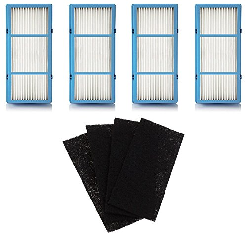 - Nispira 4 Replacement HEPA Filter + 4 Charcoal Booster Pre Filter for Holmes AER1 Total Air Filter, HAPF30AT for Purifier HAP242-NUC
