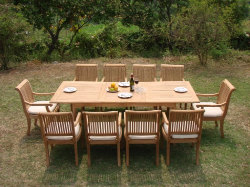 New 11 Pc Luxurious Grade-A Teak Dining Set - 117