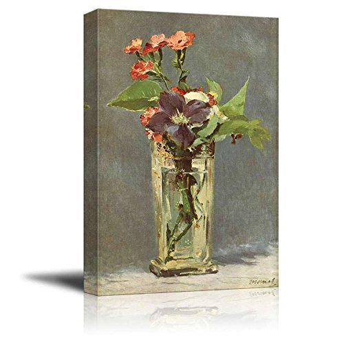 wall26 - Flowers in a Crystal Vase, c.1882 by Edouard Manet - Canvas Print Wall Art Famous Oil Painting Reproduction - 24