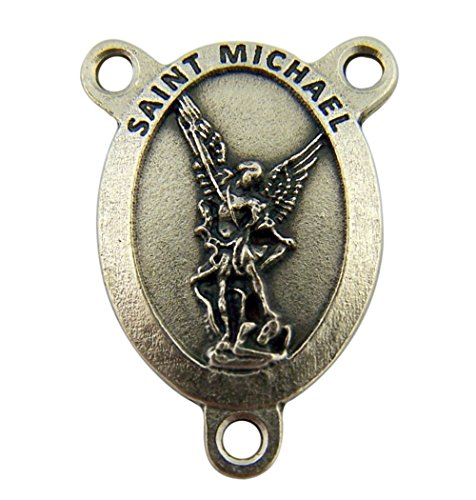 Silver Toned Base Catholic Patron Saint Pray for Us Rosary Centerpiece, 1 Inch (Saint Michael the (Michaels Jewelry Making)