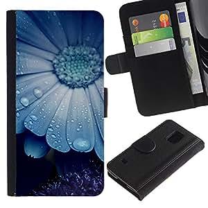 KingStore / Leather Etui en cuir / Samsung Galaxy S5 V SM-G900 / Blue Mist naturaleza de la flor de belleza lindo
