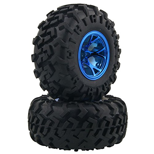 LAFEINA 4PCS 1/10 RC Monster Truck Wheel and Tire Set, Rubber Tyres and Plastic Wheels for Traxxas HIMOTO HSP HPI Tamiya Kyosho Monster Bigfoot Truck (Himoto Rc Truck)
